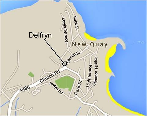 Location of Delfryn, Church Street, New Quay