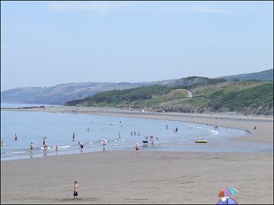 Traethgwyn Beach below the caravan park
