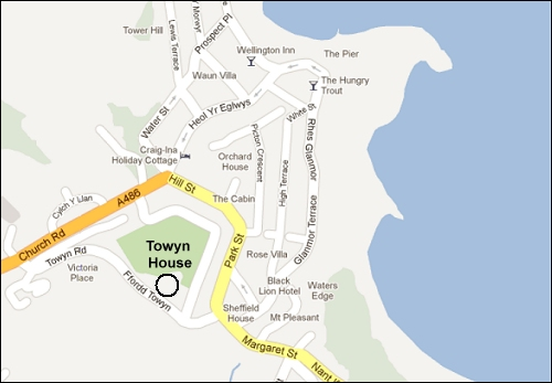 The location of Towyn House in New Quay
