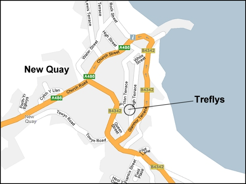 Location of Treflys in New Quay